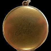 Vintage Gold-Filled Locket Pendent w/ Old Photos - Initialed JW