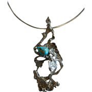Handmade Abstract Sterling Silver Pendent Choker Ring Necklace w/ Natural Turquoise Stone