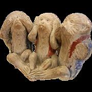 "Antique Japanese Bankoware ""See, Hear, Speak No Evil"" Monkey Trio Figurine"