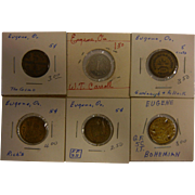 Set of 6 Vintage Assorted Tokens from Eugene, OR