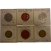 Set of 6 Vintage Recreation Tokens from Eugene, OR