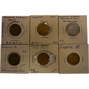 Set of 6 Vintage Tokens from Eugene, OR