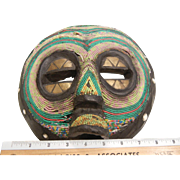 Hand Carved African Decorated Wood Mask w/ Beads