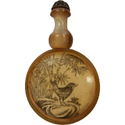 Fabulous Natural Horn Snuff Bottle w/ Engraved Bird Design