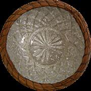 Vintage Pine Needle Basket Wrapped Goofus Glass Bowl