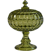 Fenton Thumbprint Olivine Green Glass Lidded Pedestal Candy Compote