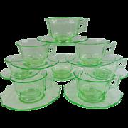 Cambridge Vaseline Glass Decagon Teacups & Saucers ~ Set of 8
