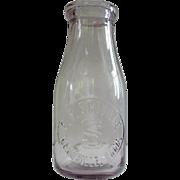 Antique F.F. Scoville, Plainville, Conn.  Amethyst Glass Dairy Milk Bottle