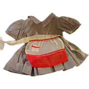 """SALE 7.5"""" Gray Cotton Doll Dress with Attached Panties for 16-18"""" Hard Plastic ..."""