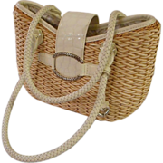 Vintage Brighton, Straw handbag with white leather trim