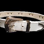 Wonderful White Leather Brighton Western Style Belt