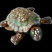 Vintage Enameled Sterling, Turtle Brooch with Marcasites