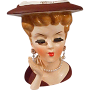 Vintage Head Vase with Necklace and Earrings, Marked