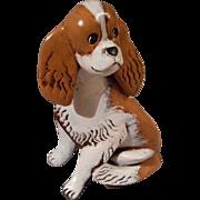 Vintage King Cavalier Wooden Dog Figurine, Signed