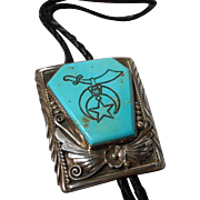 Vintage Masonic Sterling and Turquoise Bolo Tie