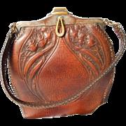 Turn of the Century Nouveau  Style Leather Handbag