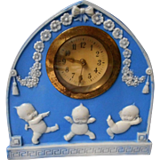 Rare Rose O'Neill Blue Jasperware Kewpie Clock