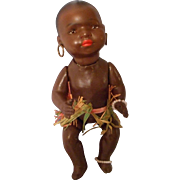 SALE Rare Heubach Koppelsdorf Black Ethnic Bisque Doll in Grass Skirt