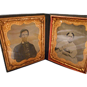 Large Vintage Daguerro Type Frame with 2 Tintype Pictures