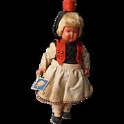 SALE Vintage Celluloid Black Forest German Doll, Turtle Mark, All Original
