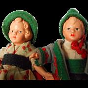 SALE Wonderful Set of Bisque Doll House Dolls in Original German Costume