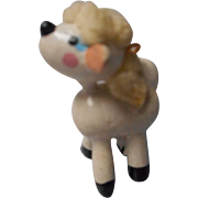 German Hand Painted Wooden Folk Art Lamb