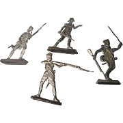 Vintage German Soft Metal Figurines, Set of 4 Soldiers