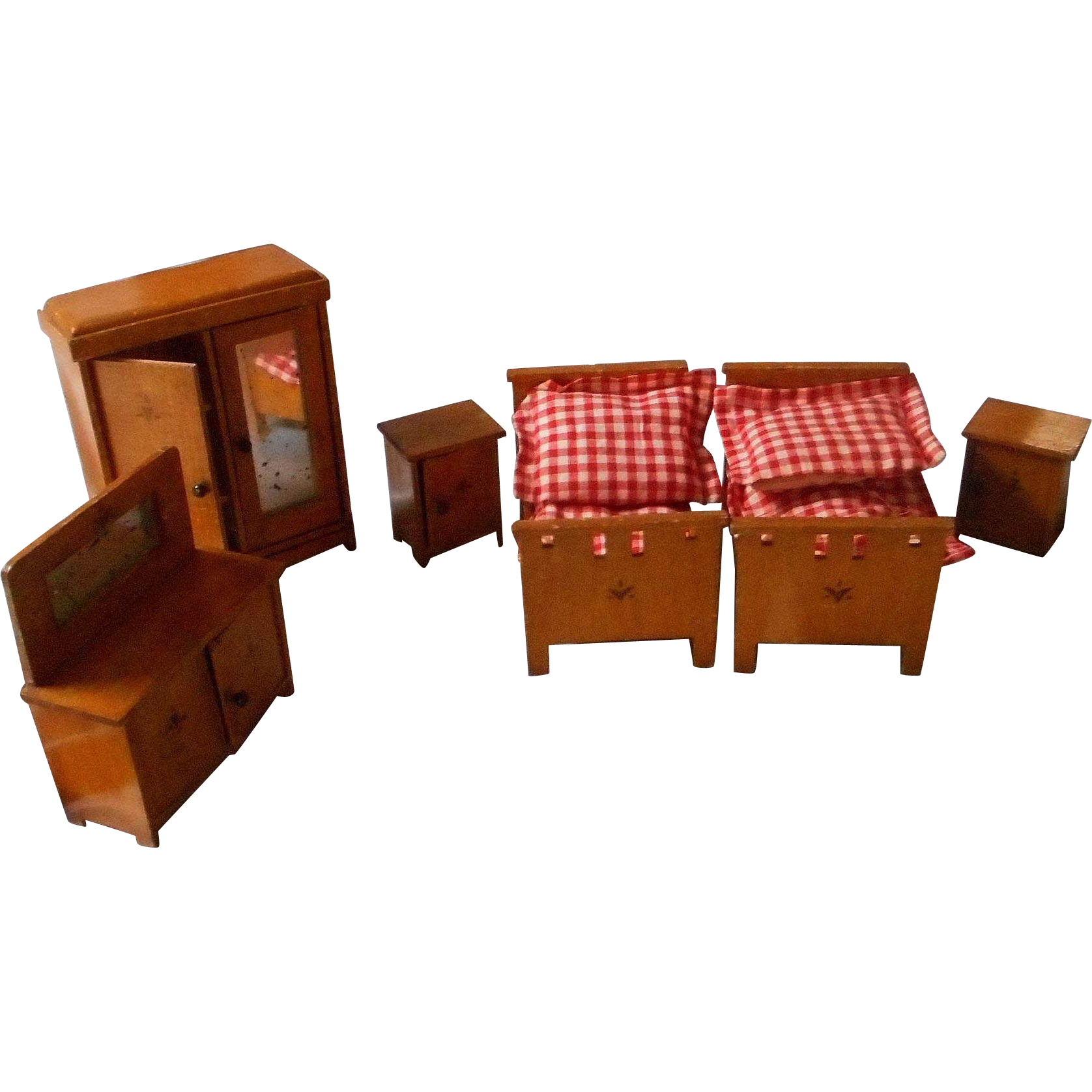 German Vintage All Wooden Doll House Bedroom Set From