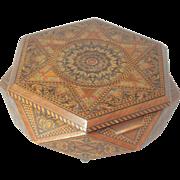 Hexagon TUNBRIDGE SEWING or JEWELRY MUSiC BOX RaRe Complete Antique c1800