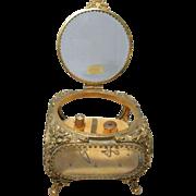 Large 24KT Gold Plated  Casket Box, HAND Beveled Crystal Glass Ormolu & Five 14KT SOLID GOLD .