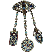 A19th century Art Nouveau 3 ARM ENAMEL CHATELAINE with a PERFUME BOTTLE,MAKEUP PAPER & a ...