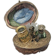 Spanish Walnut 8 piece ETUI with Rare Monocle with Emeralds, Scent Bottle, 19th Century