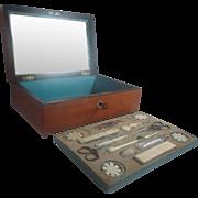 Palais Royal Complete 18pc Wooden Sewing Boxed Set; Antique c1810
