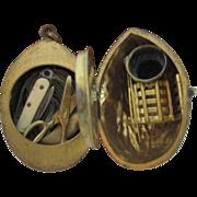 Bronze Walnut ETUI; Antique 19th century includes, tape measure, knife,scissor, thimble, glass
