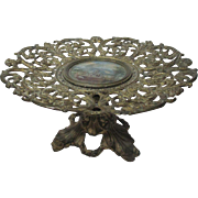 Back Hand Painted Reticulated metal Eglomise Pedestal Cake or Pastry Plate; Antique c1850's