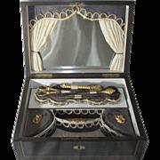 DARK wood STAGE THEME BOX c1890 ENGLAND GILT TOOLs & KEY,sewing ANTIQUE ORIGINAL