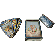 CHERUBS on FAN NEEDLE CASE & Original BOX & needle packets, H Millward & Sons ; Antique Old ..