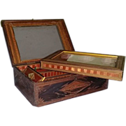 SALE French Prisoner of War Made, Stationery within a Sewing Straw Box, 19th Century