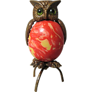 Brass & Celluloid OWL TAPE MEASURE with Egg Body ; Antique 19th Century