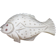 Mother-of-Pearl WINDER shaped like a Flounder Fish; Antique c1800's