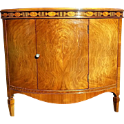 SALE Antique Moulded Demilune Corner Commode/Cabinet 19th Century in the Hepplewhite Style in
