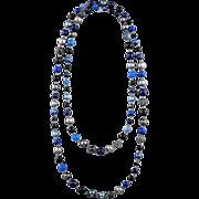 Long black and dark blue necklace made of aventurine quartz, agate, majolica and sparkle beads