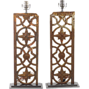 REDUCED Table Lamps - Early Industrial Iron Grates