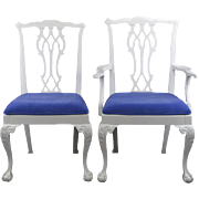 SALE White Painted Chippendale Dining Chairs - Set of 6