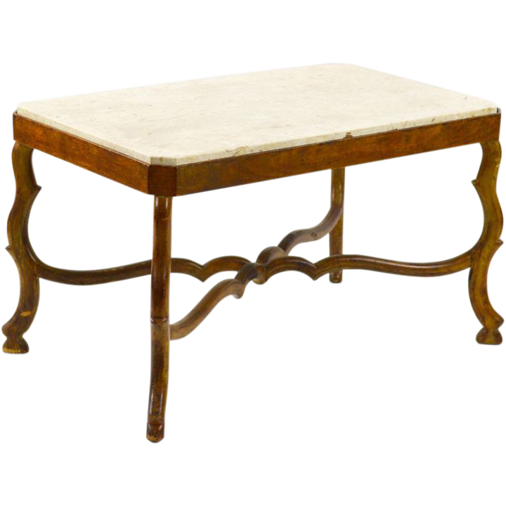 19th C Italian Coffee Table With Travertine Top From Walnutandwest On