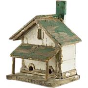 Rustic Painted Bird House - Vintage Folk Art