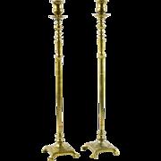 Tall Brass Pair of Candlesticks, 19th C