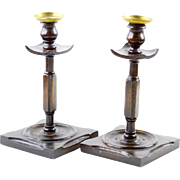Turned and Carved English Oak Candlesticks