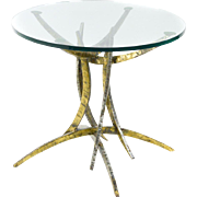 Steel and Glass Brutalist Round Table