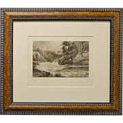 1896 Etching - Scottish Whitewater by MacWhirter